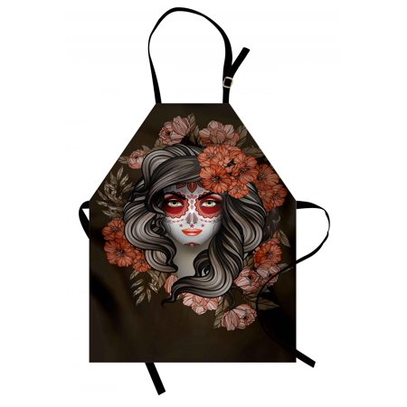 Calavera Bowl - Day Of The Dead Apron Spanish Woman with Festive Calavera Makeup Art and Flower Blooms, Unisex Kitchen Bib Apron with Adjustable Neck for Cooking Baking Gardening, Army Green Salmon, by Ambesonne