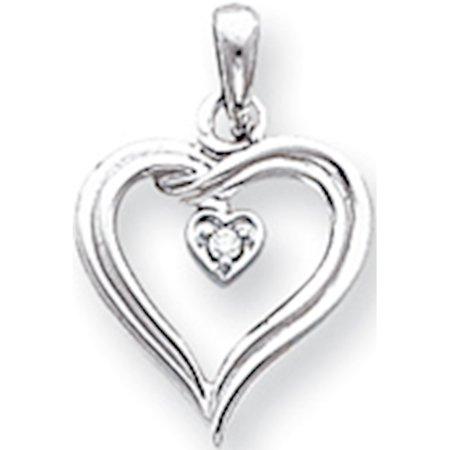 Leslies Fine Jewelry Designer 14k White Gold AA Diamond heart (10x22mm) Pendant