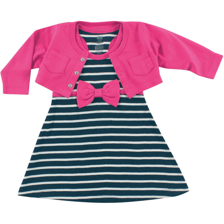 Newborn Baby Girls Cropped Cardigan w Racerback Dress Berry Navy