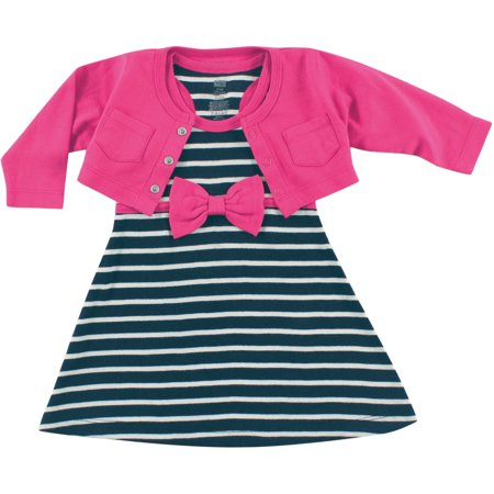 Newborn Baby Girls Cropped Cardigan w/ Racerback Dress - Berry/Navy