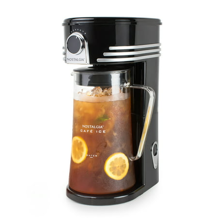 Nostalgia CI3BK Café Ice 3-Quart Iced Coffee & Tea Brewing (Shut Off Iced Tea Maker)