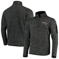 New England Patriots Antigua Fortune Quarter-Zip Pullover Jacket - Heather Black