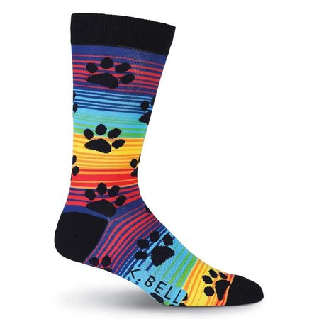 K. Bell Men's Rainbow Stripe Paw Prints Crew Socks, Rainbow, Sock Size 10-13/Shoe Size 6.5-12, 1 Pair