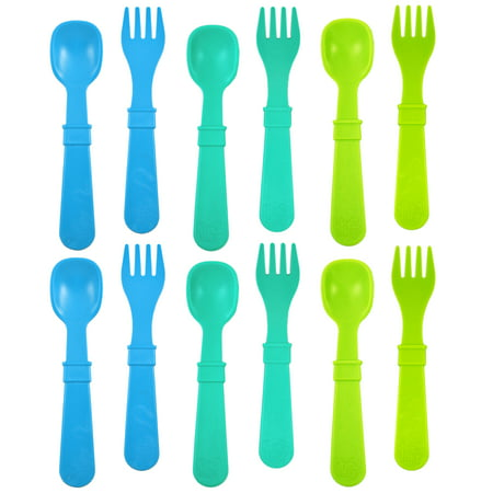 Forks And Spoons (Re-Play Made in USA 12pk Toddler Feeding Utensils Spoon and Fork Set for Easy Baby, Toddler, Child Feeding - Sky Blue, Aqua, Green (Under the Sea) 6 Spoons/6)