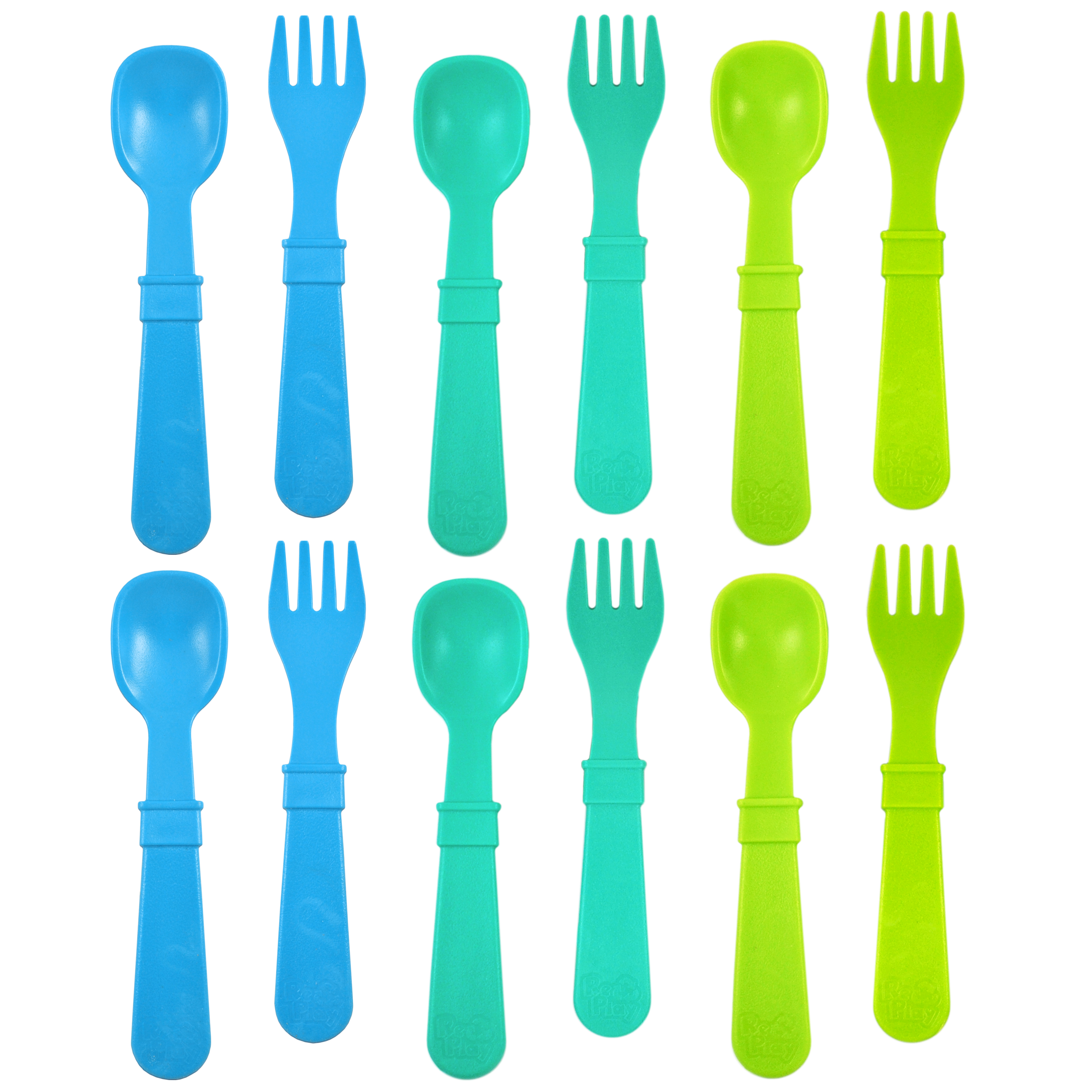 Re-Play Made in USA 12pk Toddler Feeding Utensils Spoon and Fork Set for Easy Baby, Toddler, Child Feeding - Sky Blue, Aqua, Green (Under the Sea) 6 Spoons/6 Forks