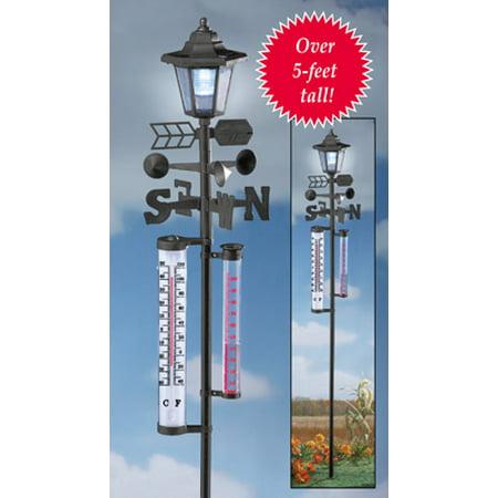 Weather Station Garden Stake with Solar Lantern ()