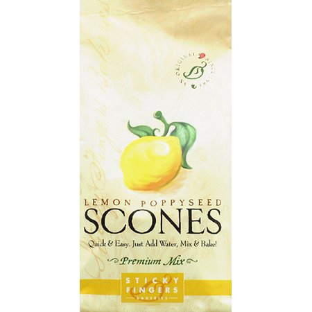 Sticky Fingers Bakeries Lemon Poppyseed Premium Scones Mix, 15 oz, (Pack of 6)