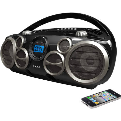 AKAI CD Boombox with AM/FM Radio with Digital Display and 6 Speakers