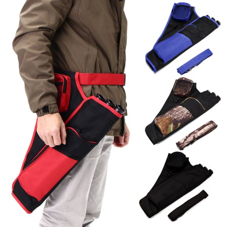 3 Tube Deluxe Archery Hip Back Arrow Quiver Adjustable Waist Belt Bow Quiver Arrows Holder Bag Case for Shooting and Target