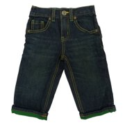Healthtex Infant & Toddler Boys Dark Wash Denim Jeans With Green Cuff