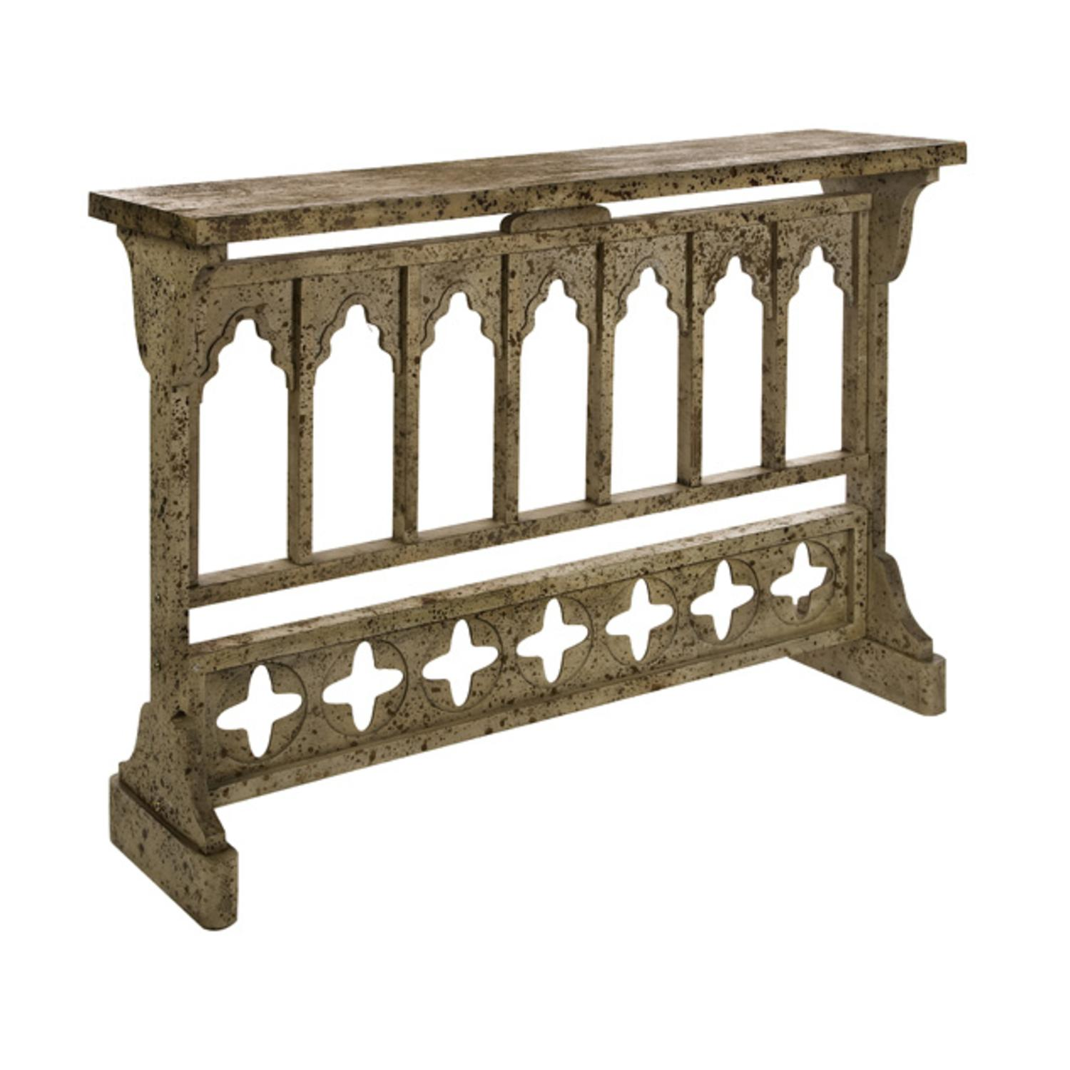 "47"" Contemporary Gothic Syle White Washed Decorative Console Table"