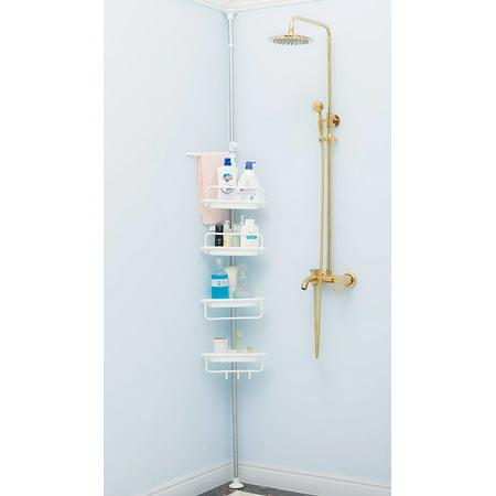 4 Tier Adjustable Telescopic Bathroom Corner Shower Shelf Stand Caddy Organizer Bath Accessories Heavy Duty ()