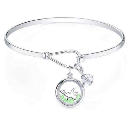 8 Crystal Bell (Disney Light Green Crystal and 8mm Clear Crystal Silver-Tone Tinkerbell Bangle Bracelet, 8
