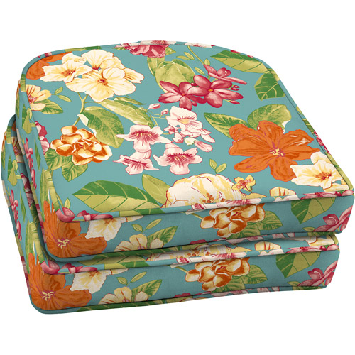 Better Homes And Gardens Outdoor Wicker Seat Cushion With Welt, Bright  Floral, Set Of