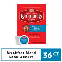 Community Coffee Breakfast Blend Medium Roast Coffee Single-Serve Cups 36 ct Box Compatible with Keurig 2.0 K-Cup Brewers