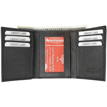- New RFID Blocking Men's Genuine Soft Lamb Leather Slim ID Card Holder Trifold Wallet RFID 55 BOX (C)