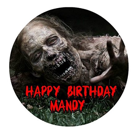 The Walking Dead Zombie TWD Edible Image Photo Cake Topper Sheet Personalized Custom Customized Birthday Party - 8 Inches Round - 77922 - Walking Dead Cakes