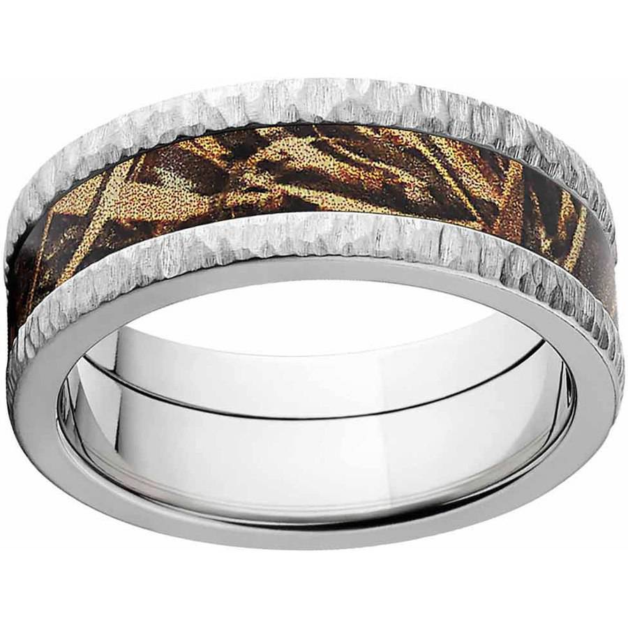 Max 5 Men's Camo Stainless Steel Ring with Tree Bark Edges and Deluxe Comfort Fit