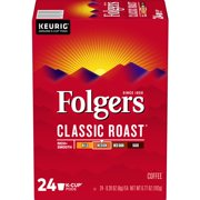 Folgers Classic Roast K-Cup Coffee Pods, Medium Roast, 24 Count For Keurig and K-Cup Compatible Brewers