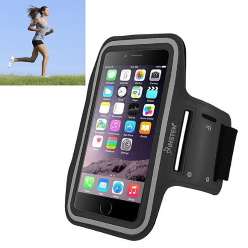 Insten Black Sports Armband Gym Running Case Phone Holder For iPhone 6 Plus 6S Plus / Galaxy Note 5 4 3 S7 Edge (with key Storage)