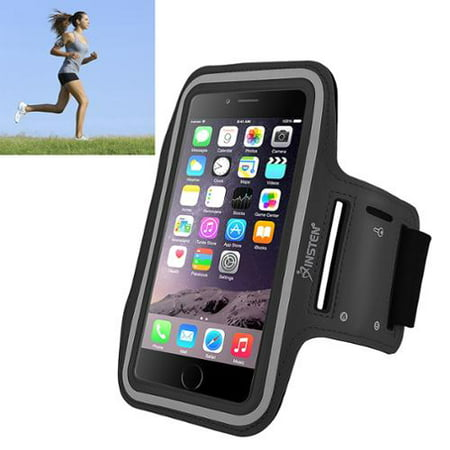 Insten Black Sports Armband Gym Running Case Phone Holder For Apple iPhone 8 Plus 7 Plus X 6 Plus 6S Plus / Samsung Galaxy Note 8 5 4 3 S7 Edge S8 S9 S9+ Universal (with key Storage)