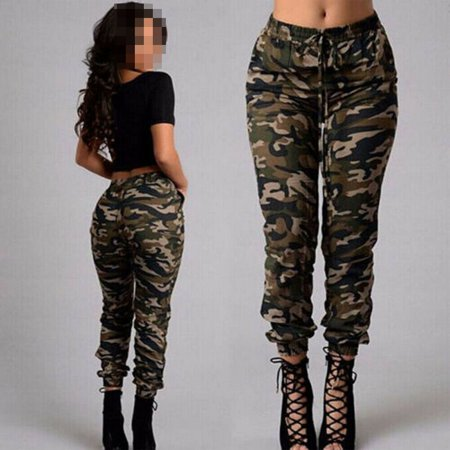 Womens Camo Trousers Casual Hip-hop Military Army Combat Camouflage Pants