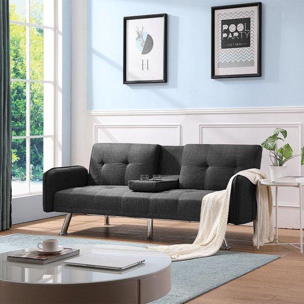 Futon Sofa Bed Modern Fabric Twin Sofa Sleeper Bed With Metal Legs Dark Gray Futon Sofa
