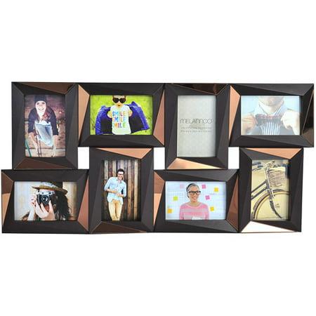 melannco 8 opening dimensional photo collage espresso picture frame. Black Bedroom Furniture Sets. Home Design Ideas