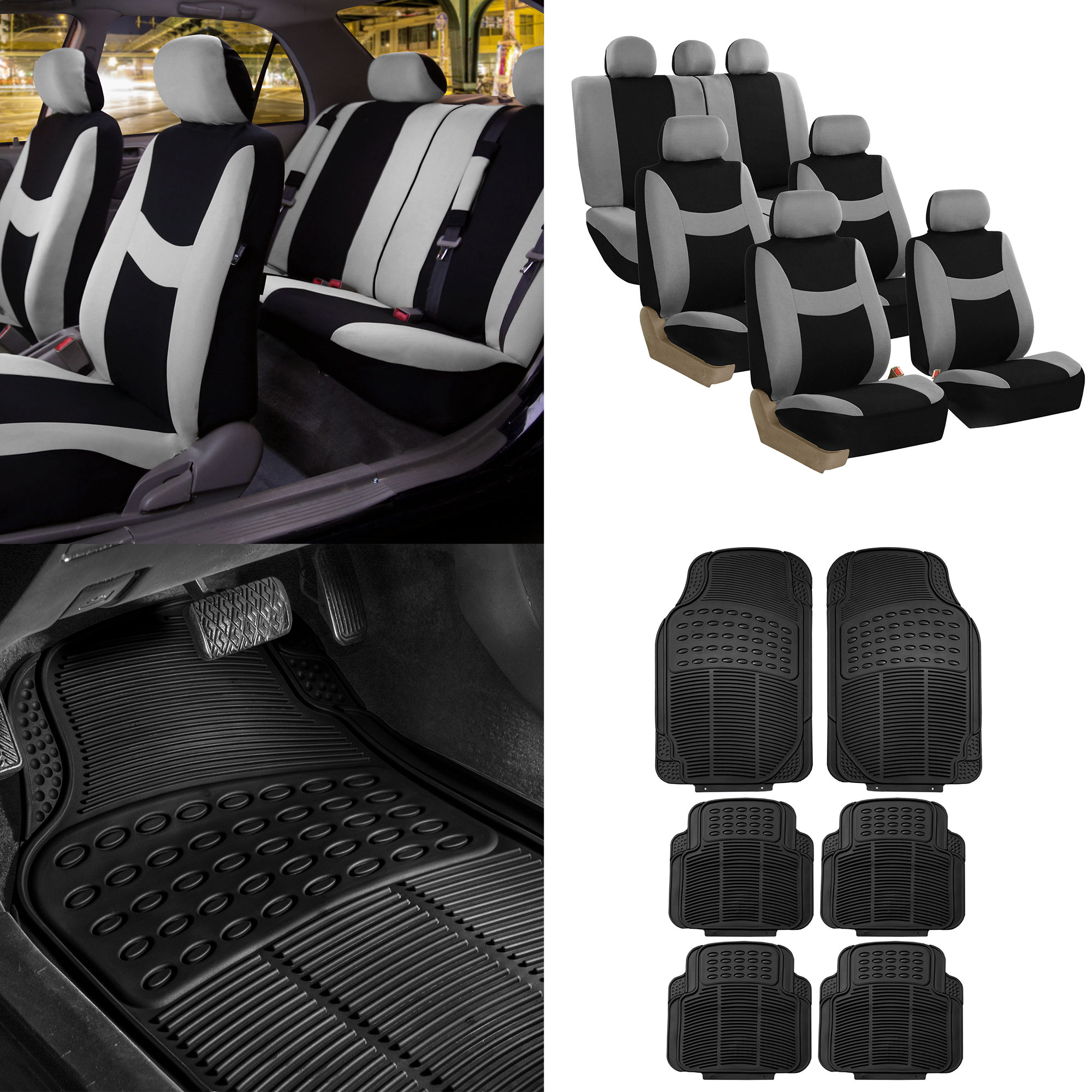 FH Group, 7 Seaters 3 Row Gray Black Seat Covers for SUV Van Combo with Black Floor Mats