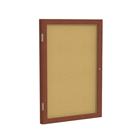 1 Door Enclosed Natural - PWC13636K Ghent 1 Door NoticeBoard Enclosed Tackboard Natural Cork Bulletin Board with Cherry Wood Frame, 3'H x 3'W