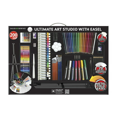 Daler-Rowney 200 Piece Simply Ultimate Studio Art Set Art Kit with Easel