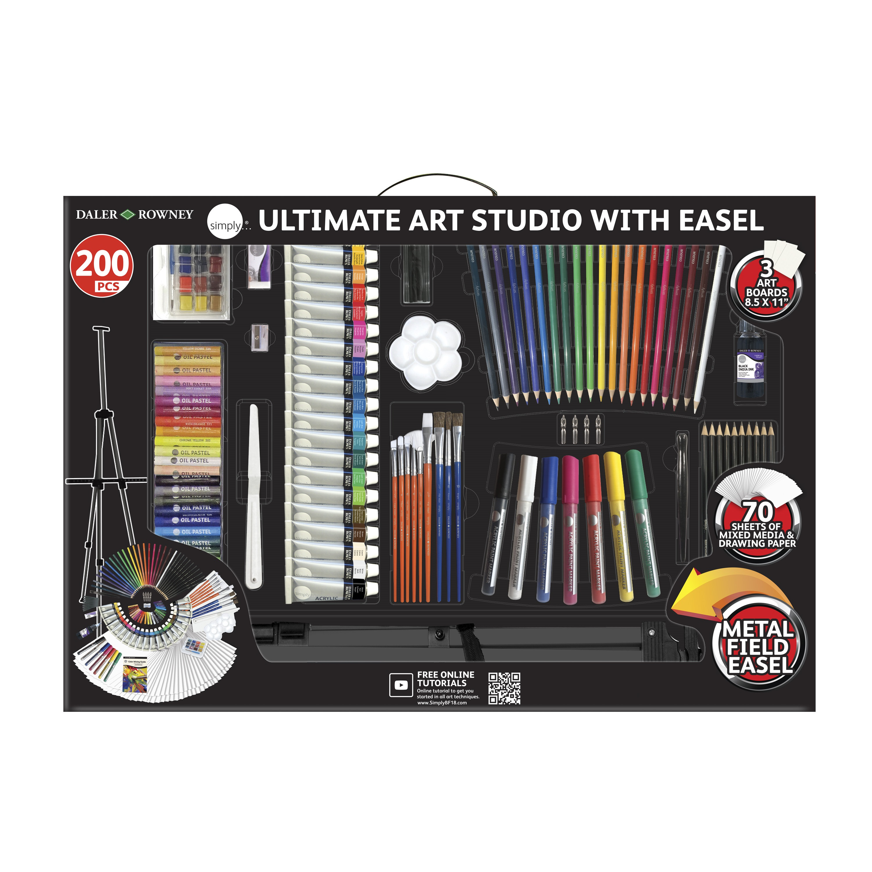 Daler Rowney 200 Piece Simply Ultimate Studio Art Set Art Kit With Easel