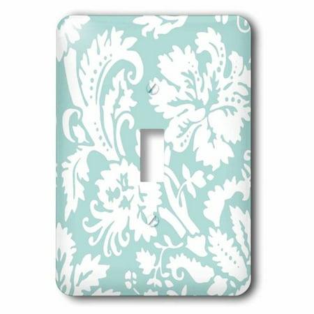 3dRose Mint damask large print design - modern stylish flowers and leaves - pastel turqoise aqua teal blue, Single Toggle Switch