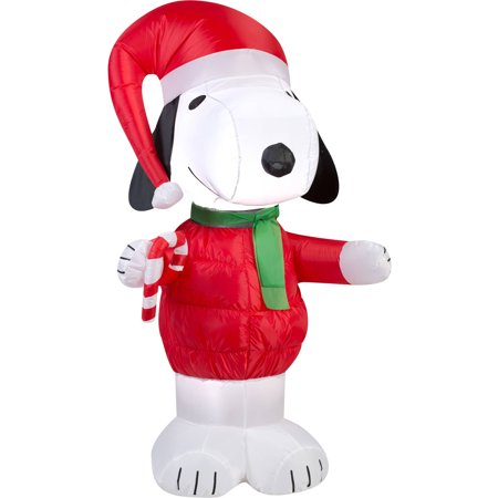 gemmy airblown christmas inflatables snoopy with candy cane 5