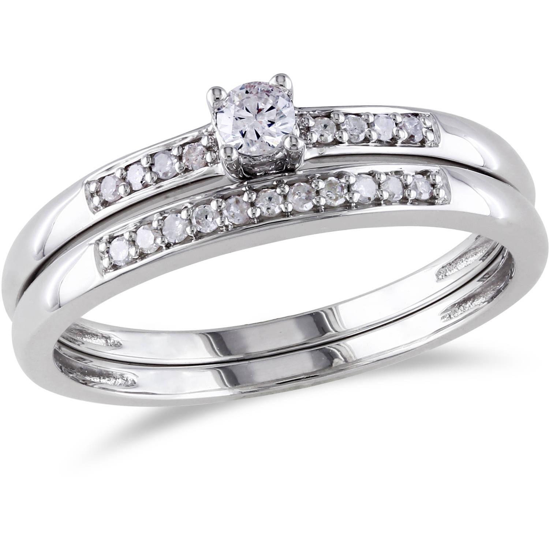 Miabella 1/5 Carat T.W. Diamond Sterling Silver Bridal Set