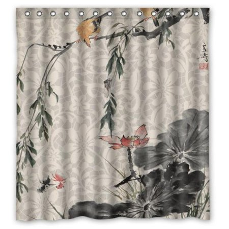 Classic Ink Painting Lotus Bird Tree Pond Shower Curtain 66x72 By Atnee