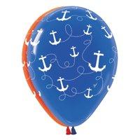 """12 Nautical Anchor Print 11"""" Latex Balloons Red & Blue W/White Design  Qualatex"""