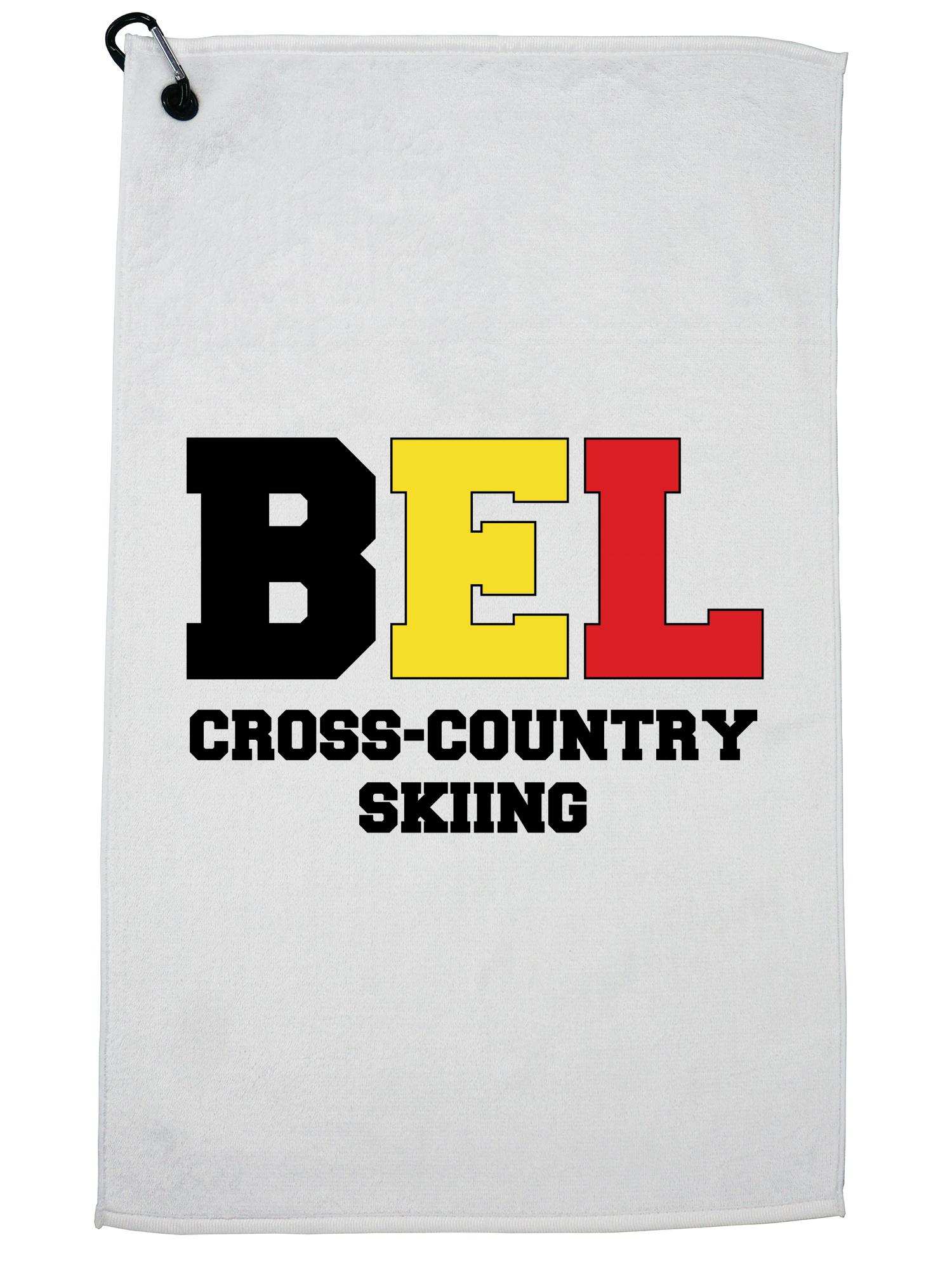 Belgian Cross-Country Skiing Winter Olympic BEL Flag Golf Towel with Carabiner Clip by Hollywood Thread