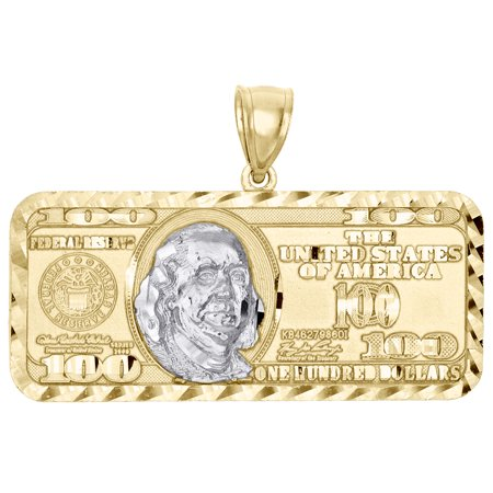 10K Yellow Gold $100 Hundred Dollar Bill Benjamin Franklin Pendant Charm 1.50
