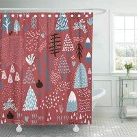 PKNMT Abstract Winter Holiday Creative Bear Black Celebration Chevron Christmas Tree Waterproof Bathroom Shower Curtains Set 66x72 inch