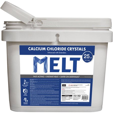 (MELT 25 lb Bucket Calcium Chloride Crystals Ice Melter)