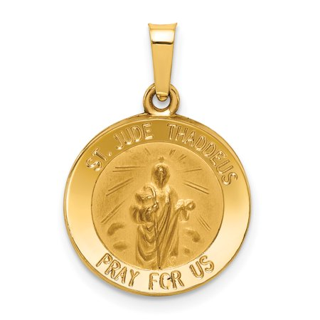 14k Yellow Gold Saint Jude Thaddeus Medal Pendant Charm Necklace Religious Patron St - Usa Medals