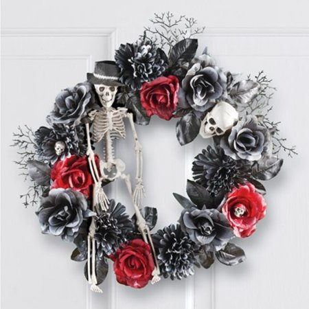 Halloween Wreath Decorations (Skeleton and Roses Halloween Wreath)