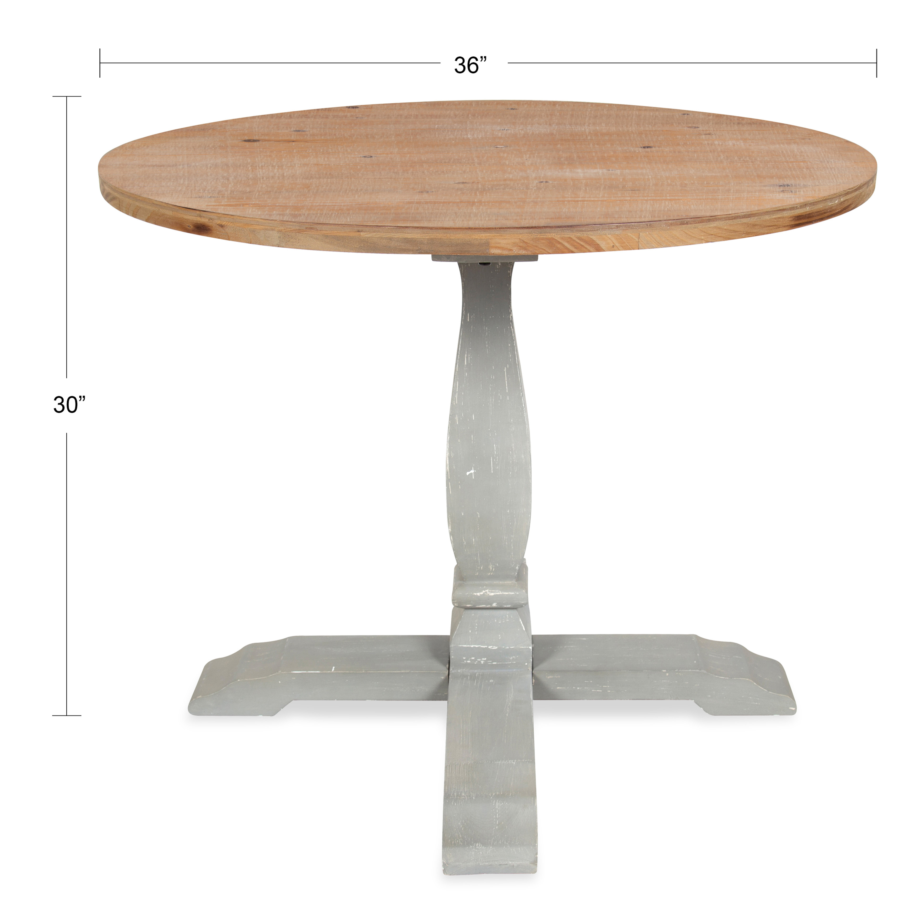 Kate And Laurel Bellmead Wood Round Pedestal Dining Table, Natural And Gray