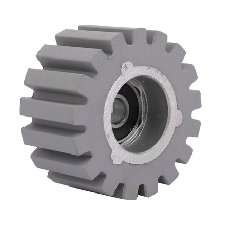 Unique Bargains 53mmx8mmx28mm Rubber Coated Steel Pinch Roller Rolling Wheel Gray ()
