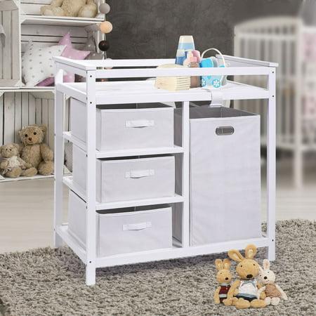 Baby Diaper Changing Table Basket Hamper Infant Nursery Station White