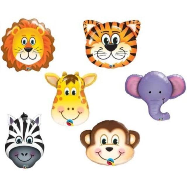 LoonBalloon JUNGLE ZOO Monkey LION Giraffe ZEBRA Tiger ELEPHANT Animals 6 pc Party Balloons