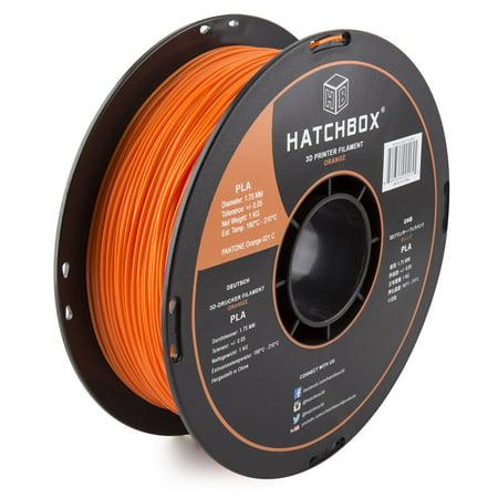 HATCHBOX 3D PLA-1KG1.75-ORN PLA 3D Printer Filament, Dimensional Accuracy +/- 0.05 mm, 1 kg Spool, 1.75 mm, (Hatchbox 1-75 Mm Wood 3d Printer Filament)
