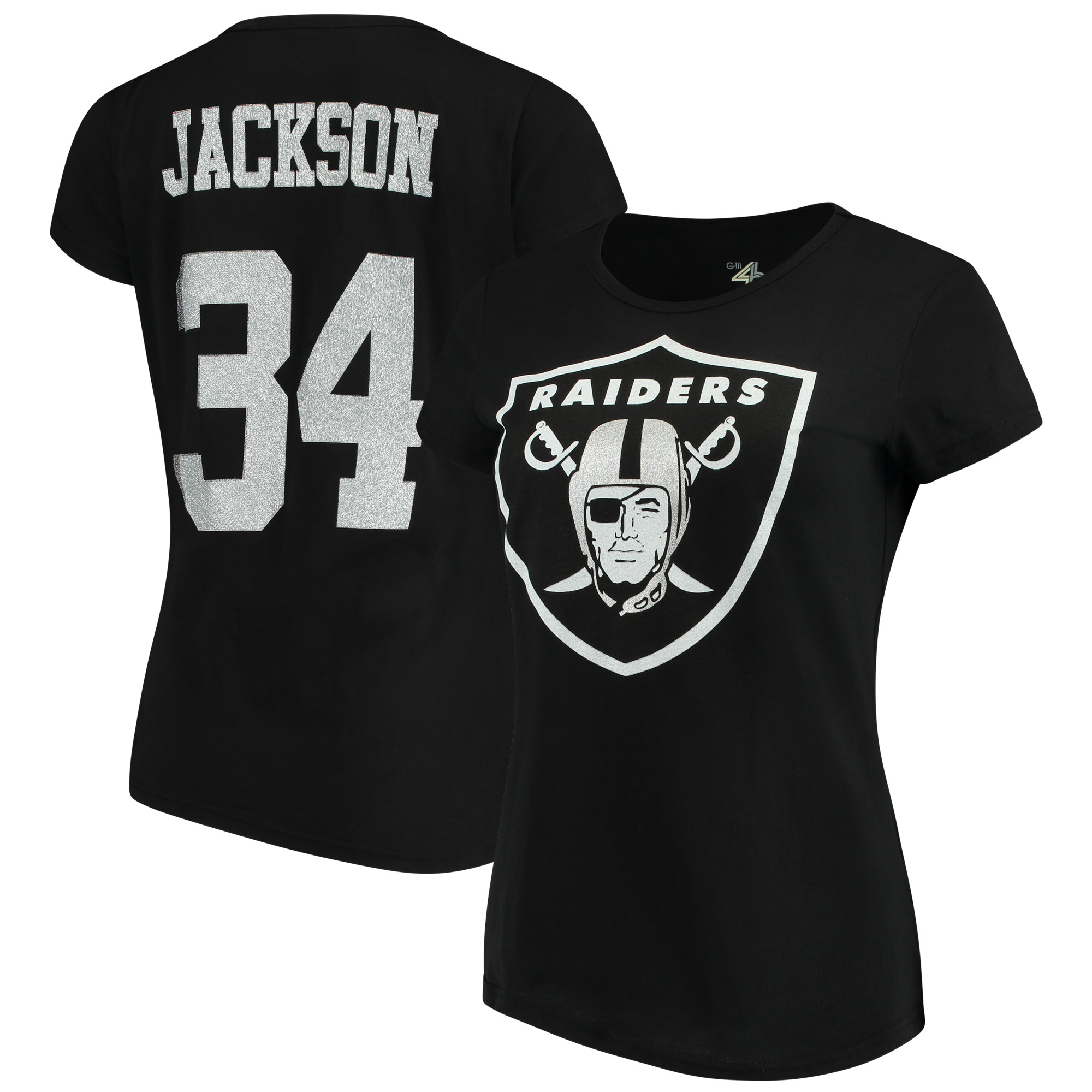 Bo Jackson Oakland Raiders G-III 4Her by Carl Banks Women's Glitter Endzone Player Name & Number T-Shirt - Black