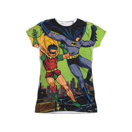 DC Comics Vintage 1940s Batman & Robin Fight Crime Juniors Front Print T-Shirt](Batman And Robin Girls)